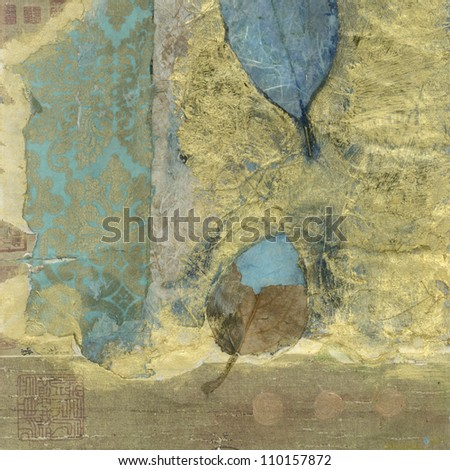 Abstract mixed medium collage wabi-sabi leaves. - stock photo