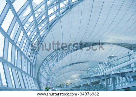 abstract modern architecture building in Bangkok airport,thailand,asia. - stock photo