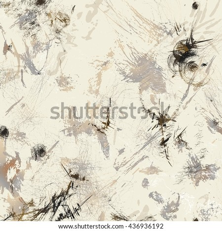 abstract modern art background in expressionism style of paint dabs and ink spatters - stock photo