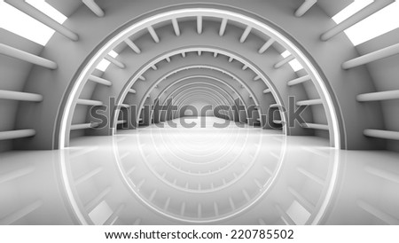 Abstract Modern Background, empty futuristic interior with columns and balks, 3D rendering - stock photo