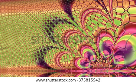 Abstract modern background with an interconnected plastic fluid like wavy lattice pattern with abstract wavy flower-like shape in the right lower corner, all in sepia tinted pink,green,yellow - stock photo