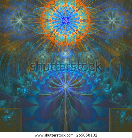 Abstract modern bright shining spring fractal flower and star background flowers/stars on top and a larger flower on the bottom with decorative arches. All in high resolution and in blue,cyan,orange - stock photo