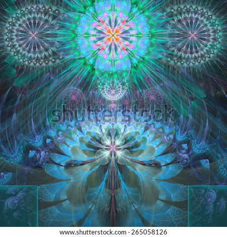 Abstract modern bright shining spring fractal flower and star background flowers/stars on top and a larger flower on the bottom with decorative arches. All in high resolution and in blue,pink,green - stock photo