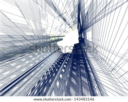 Abstract modern building. 3d render on white background - stock photo