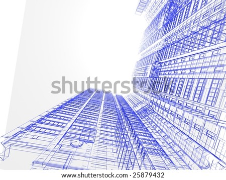 abstract modern building on white background