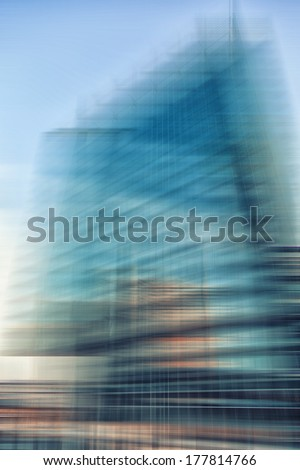 abstract Modern business architecture in motion blur  - stock photo