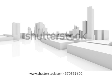 Abstract modern cityscape 3d model isolated on white background with soft reflections over ground - stock photo