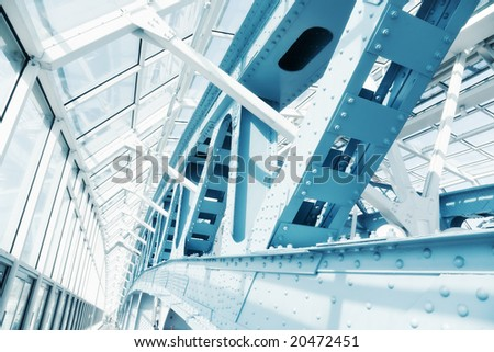 Abstract modern construction. Blue tint. - stock photo