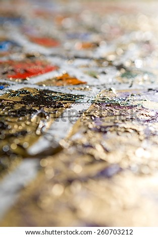 abstract modern defocused golden and white background. Oil and mixed media on canvas. Bokeh. Shallow depth of field - stock photo
