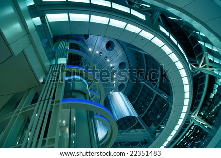 abstract modern futuristic architectural interior background, Tokyo, Japan - stock photo