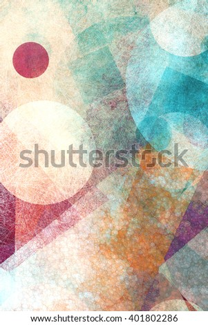 abstract modern geometric background design with various textures and shapes, floating circles squares diamonds and triangles in orange white blue and burgundy pink colors, artistic composition layout - stock photo