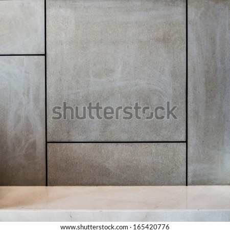 Abstract modern interior wall decorate with cement board - stock photo