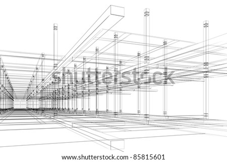 Abstract modern office architecture design in 3D wire-frame - stock photo