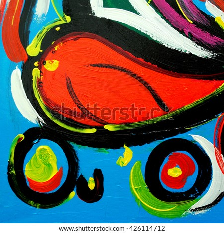 abstract modern painting by oil on  canvas for  interior, illustration - stock photo