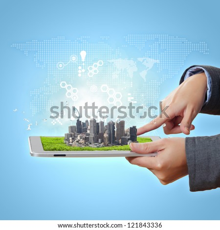Abstract modern technological digital city illustration with a computer device - stock photo