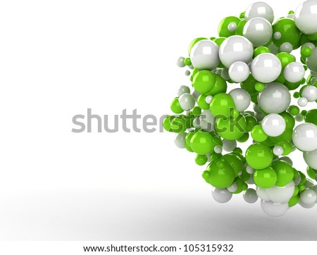 Abstract molecules 3d render - stock photo