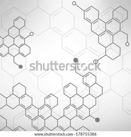 Abstract molecules medical background. Raster.