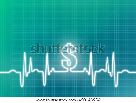 Abstract money green graphic of ekg/cardiogram with dollar sign indicating financial cost of healthcare, insurance, surgery and other medical expenses.  - stock photo