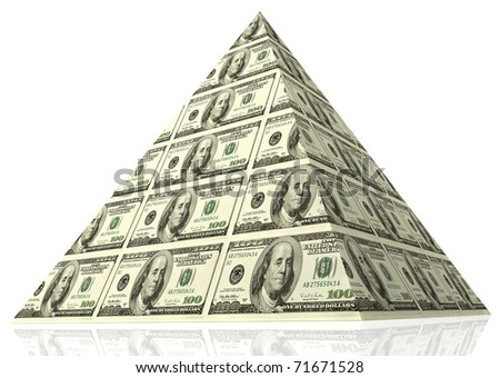 Abstract money pyramid - financial concept. - stock photo