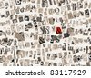 "Abstract monochrome collage background with red sign ""&"" accented, made of handmade newspapers and magazines letters cutouts - stock photo"