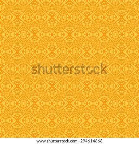 Abstract monochrome geometric background, seamless ornate ellipses and diamond pattern in yellow orange, intricate ornaments   - stock photo
