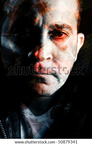 Abstract montage of a computer hacker with a radar grid and binary code overlaying his eye.