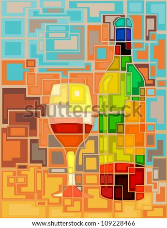 Abstract mosaic illustration of a wine bottle and glass - stock photo