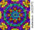 Abstract mosaic kaleidoscope in colorful rainbow tiles. - stock photo