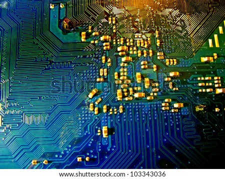 Abstract motherboard card background. New technologies - stock photo