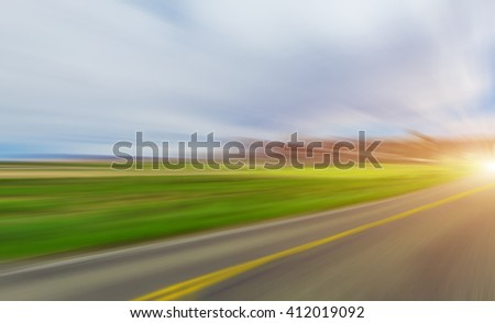 Abstract Motion blurred road