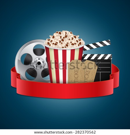 Abstract movie template. Cinema concept with popcorn, reel, film clapper and vintage ticket
