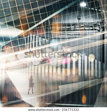 Abstract multi exposure urban background. - stock photo