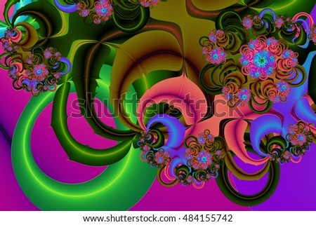 abstract  multicolor flowers  fractal