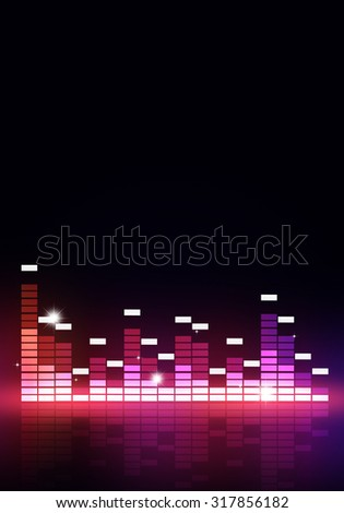 abstract multicolor music equalizer poster for joyful party events - stock photo