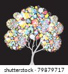 abstract multicolor tree, symbol of nature - stock photo