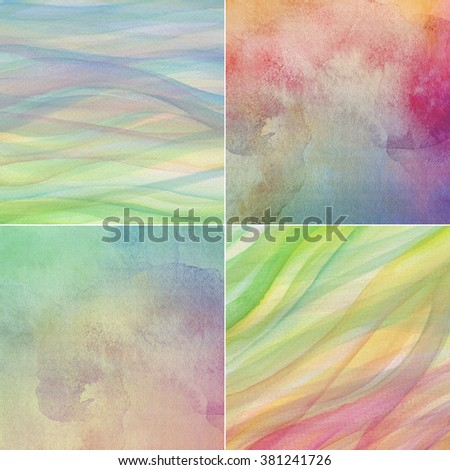 abstract multicolor watercolor background set, artistic hand painted canvas, paper texture - stock photo