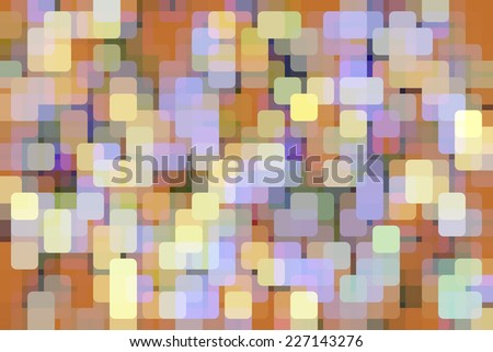 Abstract multicolored illustration of city lights at dusk, with rounded squares overlapping for illusion of three dimensions - stock photo