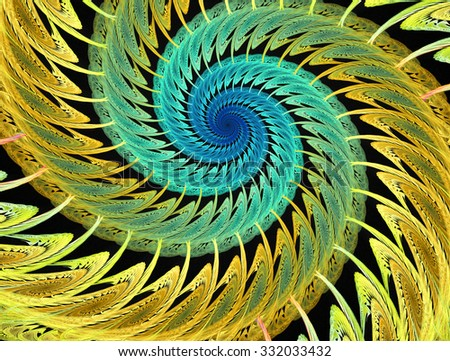 Abstract multicolored psychedelic spirals on black background. Computer-generated fractal in emerald green, yellow and blue colors. - stock photo