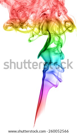 Abstract multicolored smoke on a light background - stock photo