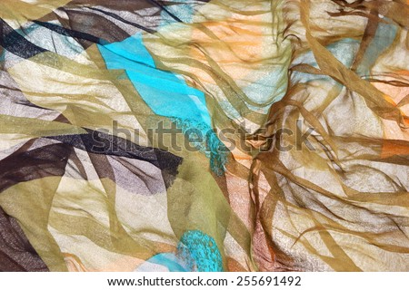Abstract Multicolored Soft Chiffon Wavy Fabric Texture Background - stock photo