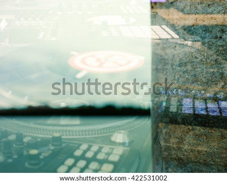 Abstract music background. Double exposure - stock photo