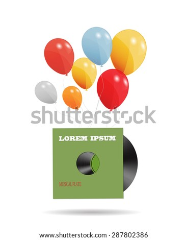 Abstract Music Background  Illustration with Balloons.  - stock photo