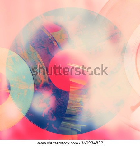 Abstract music background - vinyl and mixer - stock photo