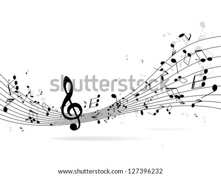 Abstract music background with notes - stock photo