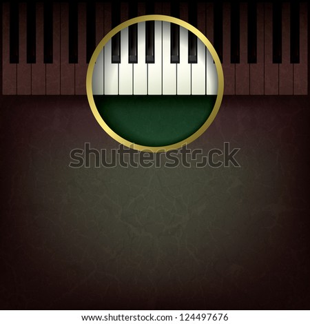 abstract music grunge background with piano on brown - stock photo