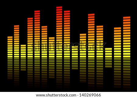Abstract music inspired graphic equalizer background - stock photo