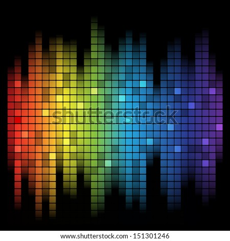 Abstract music inspired graphic equalizer background with rainbow colours.