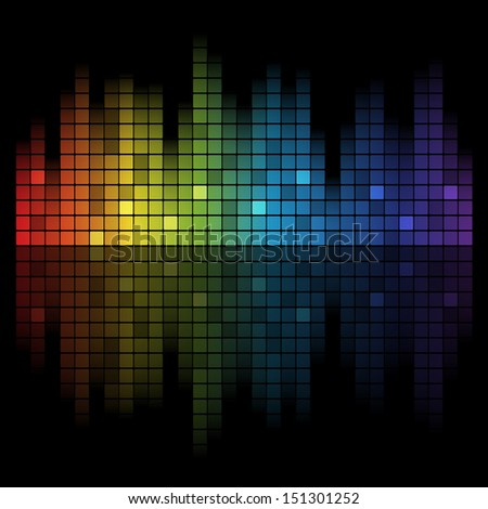 Abstract music inspired graphic equalizer background with rainbow colours. - stock photo
