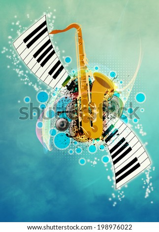 Abstract music night or concert invitation advert background with empty space - stock photo