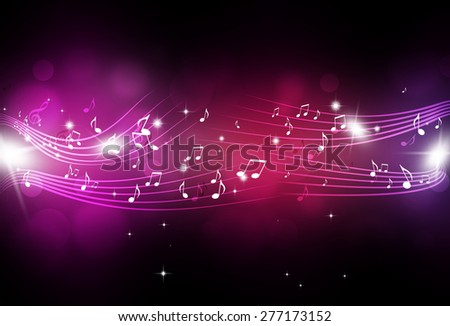 abstract music notes and blurry lights on bright multicolor background - stock photo